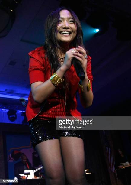 Singer Charice Pempengco performs during Muhammad Ali's Celebrity Fight Night XV held at the JW Marriott Desert Ridge Resort Spa on March 28 2009 in...