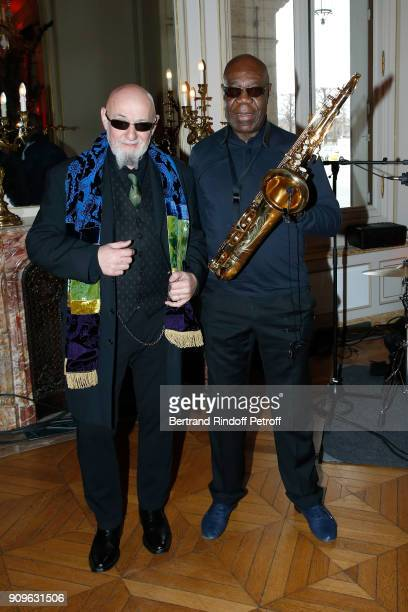 Singer Charlelie Couture and Saxophonist Manu Dibango attend the Franck Sorbier Haute Couture Spring Summer 2018 show as part of Paris Fashion Week...
