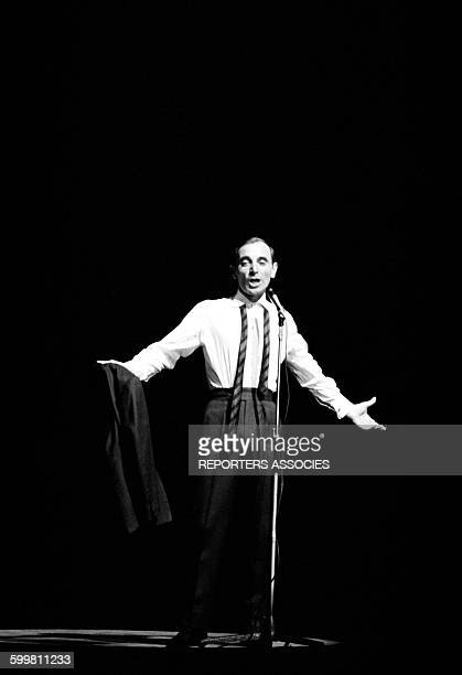 Singer Charles Aznavour at the Olympia Music Hall in Paris France on April 3 1962