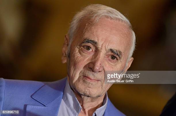 Singer Charles Aznavour awarded Honorary Walk of Fame Plaque by Senator Kevin de Leon at the Pantages Theatre on October 27 2016 in Hollywood...