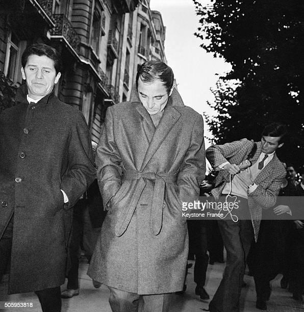 Singer Charles Aznavour Leaving Edith Piaf's Building After She Died in Paris France on October 11 1963