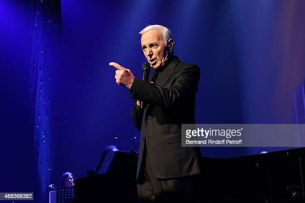 Singer Charles Aznavour performs at Palais des Sports on September 15 2015 in Paris France