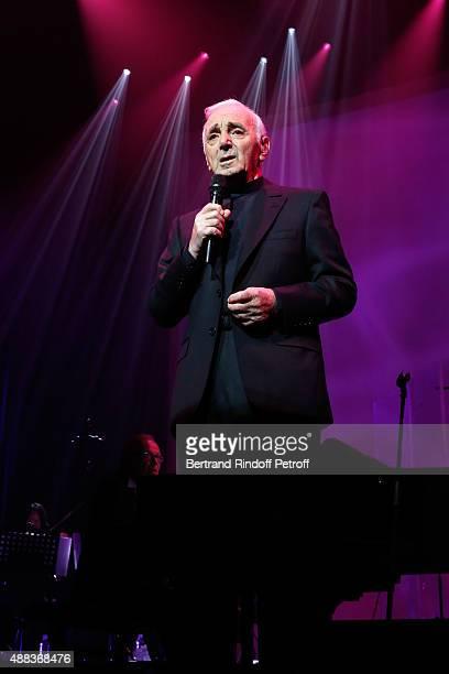 Singer Charles Aznavour performs at Palais des Sports on September 15 2015 in Paris France
