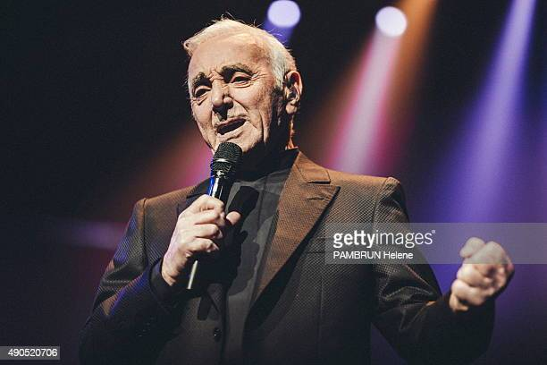 Singer Charles Aznavour performs at the Palais des Sport on September 15, 2015 in Paris, France.