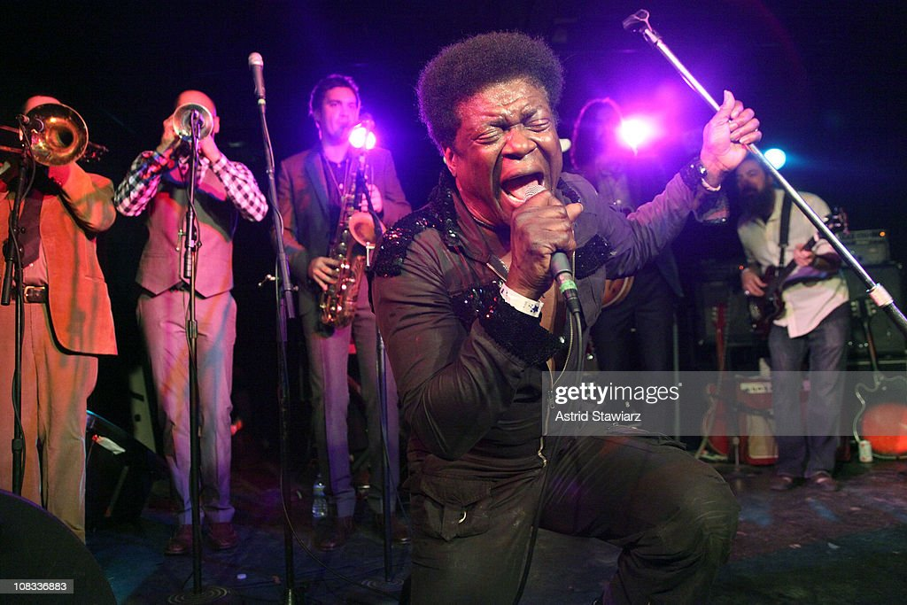 Singer Charles Bradley (C) & The Menahan Street Band peform during the Charles Bradley Album Release party at Southpaw on January 25, 2011 in New York City.