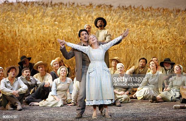 US singer Charles Castronovo as Vincent and Albanian singer Inva Mula as Mireille perform on stage during a rehearsal of Mireille an opera ballet by...