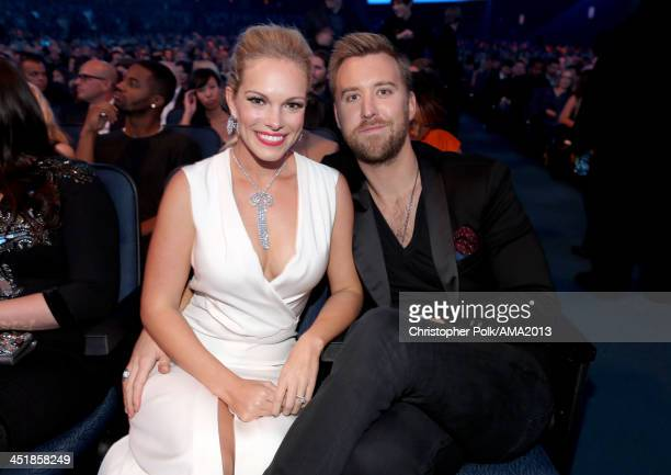 Singer Charles Kelley of Lady Antebellum and wife Cassie McConnell attends the 2013 American Music Awards at Nokia Theatre LA Live on November 24...