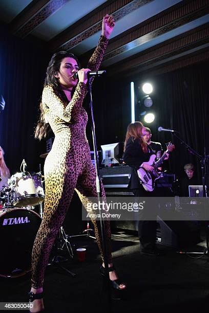 Singer Charli XCX performs onstage at the Warner Music Group annual Grammy celebration at Chateau Marmont on February 8 2015 in Los Angeles California