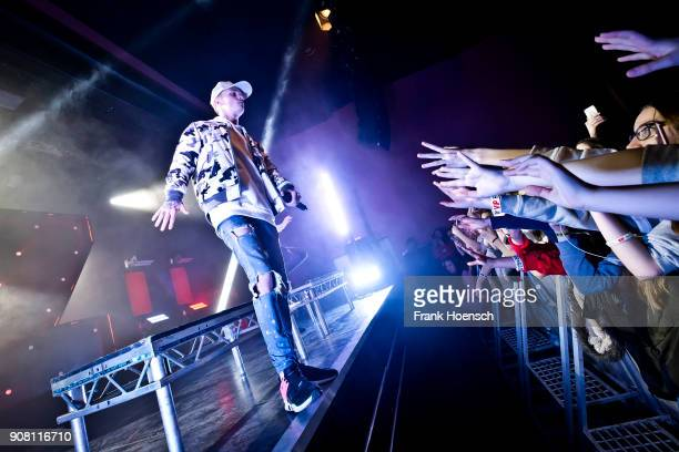 Singer Charlie Lenehan of the British band Bars and Melody performs live on stage during a concert at the Columbia Theater on January 20 2018 in...