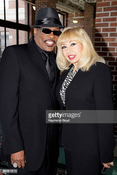 Singer Charlie Wilson and his wife Mahin poses for photos in the Lakeview Terrace ballroom at Navy Pier in Chicago Illinois on April 01 2010