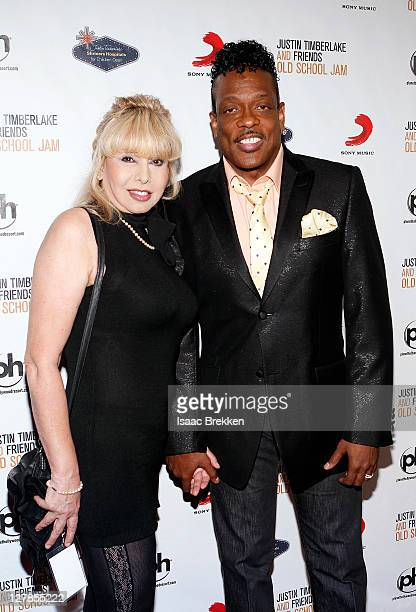 Singer Charlie Wilson and his wife Mahin Wilson arrive at the Justin Timberlake and Friends Old School Jam concert benefiting Shriners Hospitals for...