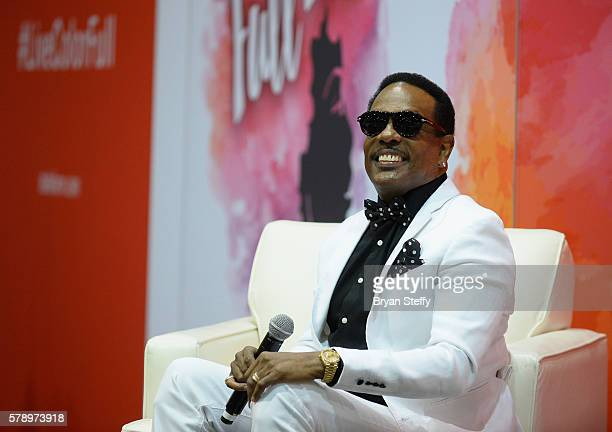 Singer Charlie Wilson speaks at the State Farm Color Full Lives Art Gallery during the 2016 State Farm Neighborhood Awards at Mandalay Bay Resort and...