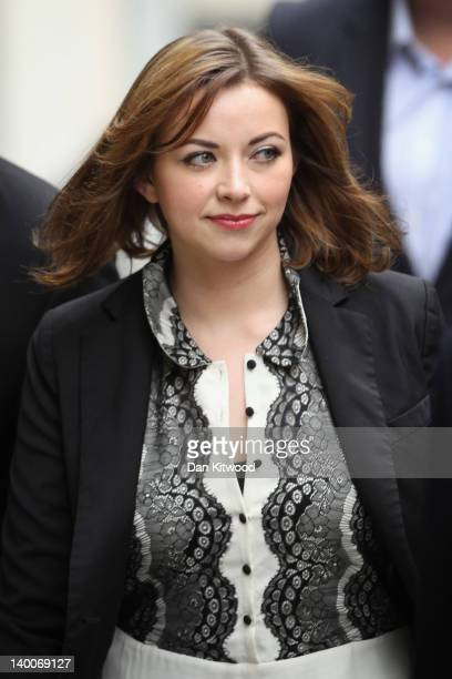 Singer Charlotte Church arrives at the Royal Courts of Justice before reading a statement to the press on February 27 2012 in London England...