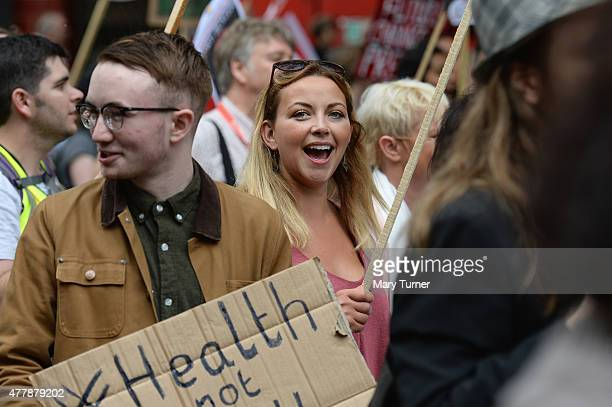 Singer Charlotte Church joins protesters in central London demonstrating against austerity and spending cuts on June 20 2015 in London England...