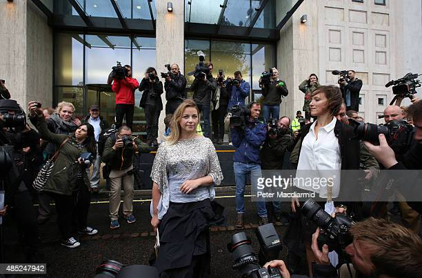 Singer Charlotte Church takes part in a Greenpeace protest outside the Shell building on August 26 2015 in London England Greenpeace have been...