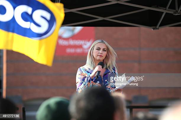 Singer Charlotte Church takes part in an antiausterity protest during the first day of the Conservative Party Autumn Conference 2015 on October 4...