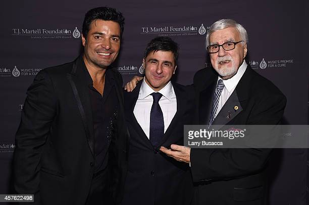 Singer Chayanne Chairman and CEO Sony Music Entertainment Latin Iberia Afo Verde and TJ Martell Foundation founder and chairman Tony Martell pose...