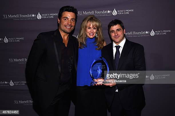 Singer Chayanne TJ Martell Foundation CEO Laura Heatherly and Chairman and CEO Sony Music Entertainment Latin Iberia Afo Verde pose backstage at the...