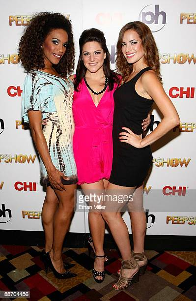 """Singer Cheaza, actress Shoshana Bean and singer Jackie Seiden appear at the after party for the adult production """"PEEPSHOW"""" at the Planet Hollywood..."""