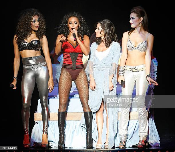 Singer Cheaza singer Melanie Brown actress Kelly Monaco and singer Jackie Seiden perform during the world premiere of the adult production PEEPSHOW...