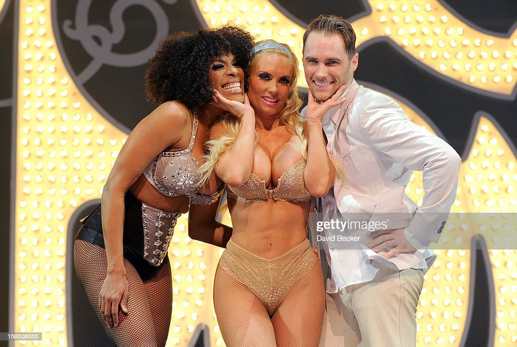 Singer Cheaza, television personality Coco Austin and singer Josh Strickland appear on stage after Austin's opening night performance in 'Peepshow' at the Planet Hollywood Resort and Casino on December 17, 2012 in Las Vegas, Nevada.