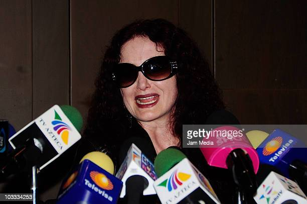 Singer Chela Lora grants a press conference with Alex Lora to speak about their daughter Celia who remains jailed after running over a man with her...