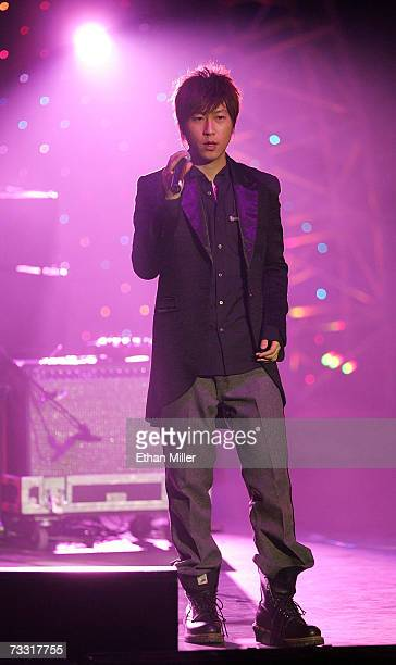 Singer Chen Hsin Hung of the Taiwanese rock group Mayday performs during the Fusion 2007 concert at the Aladdin Theatre for the Performing Arts...