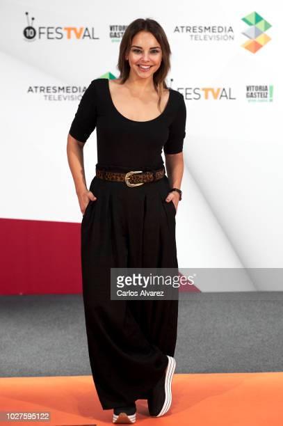 Singer Chenoa attends 'Tu Cara Me Suena' photocall at Palacio de Congresos Europa during the FesTVal 2018 on September 6 2018 in VitoriaGasteiz Spain