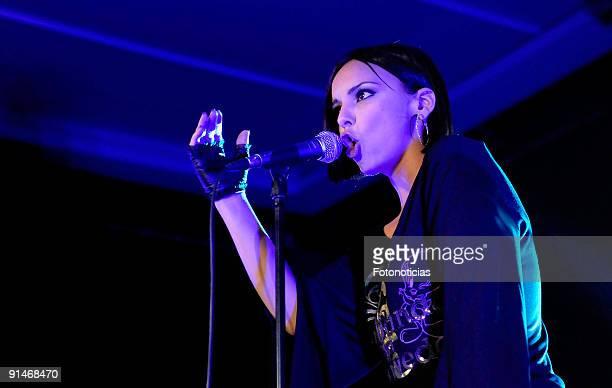 Singer Chenoa performs at the launch of her new album Desafiando la Gravedad at the Teatro Quinto on October 5 2009 in Madrid Spain