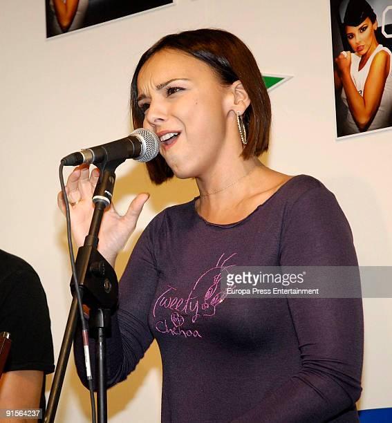 Singer Chenoa signs copies of her album 'Desafiando a la gravedad' at El Corte Ingles store at El Corte Ingles store Castellana street on October 7...
