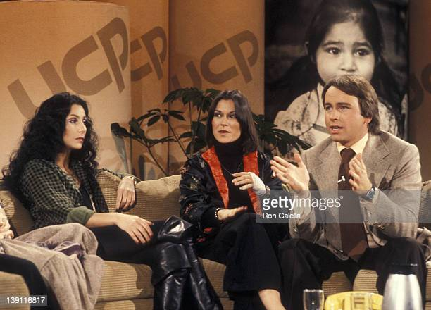 Singer Cher actress Kate Jackson and actor John Ritter participate in the United Cerebral Palsy's Weekend with the Stars Telelthon on February 4 1978...