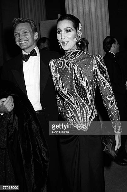Singer Cher and actor Bob Mackie attending 14th Annual Diana Vreeland Costume Exhibit Costumes of India on December 9 1985 at the Metropolitan Museum...