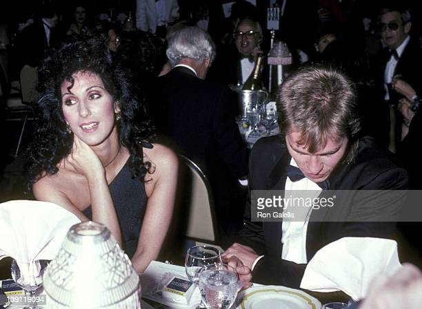 Singer Cher and actor Val Kilmer attend the 36th Annual Tony Awards After Party on June 6 1982 at the WaldorfAstoria Hotel in New York City