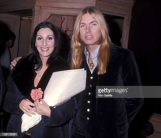 Singer Cher and musician Gregg Allman on January 21 1977 leave the Georgetown Inn in Washington DC