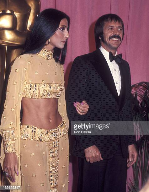 Singer Cher and singer Sonny Bono attend the 45th Annual Academy Awards on March 27 1973 at Dorothy Chandler Pavilion Los Angeles Music Center in Los...
