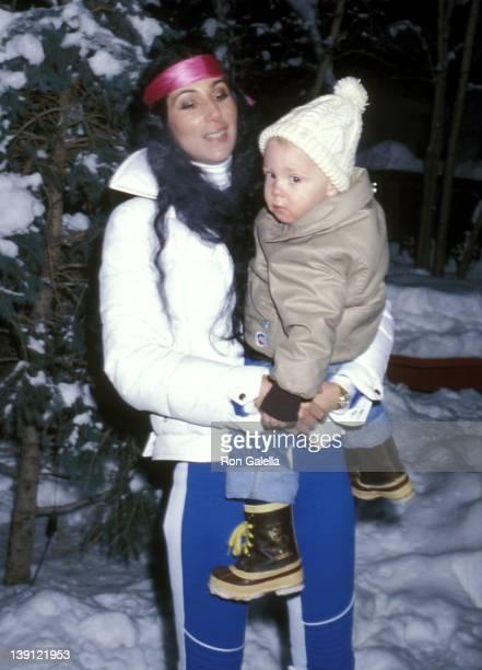 Singer Cher and son Elijah Blue Allman on December 21 1977 vacation in Aspen Colorado