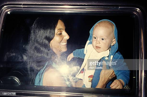 Singer Cher and son Elijah Blue Allman on March 20 1977 at Los Angeles International Airport in Los Angeles California
