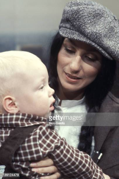 Singer Cher and son Elijah Blue Allman on September 23 1977 pose for pictures during taping of The Stanley Siegel Show at ABC Studios in New York City