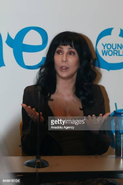 US singer Cher attends the One Young World Summit 2017 at Agora Bogota Convention Center in Bogota Colombia on October 07 2017