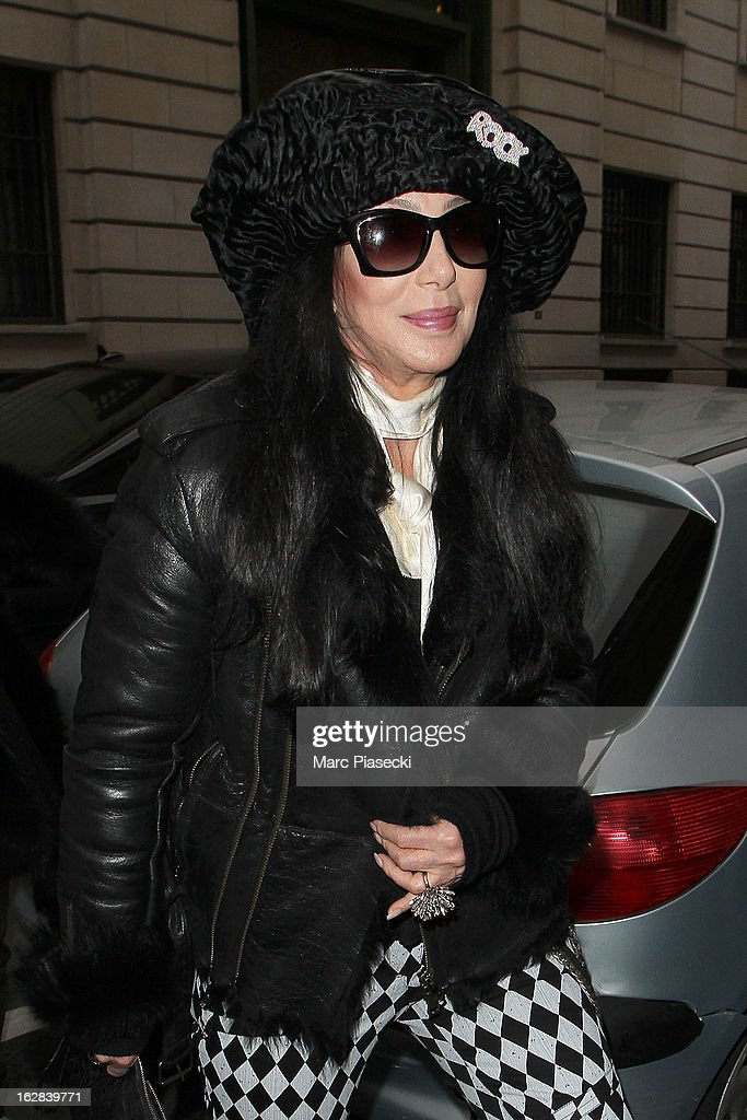 Singer Cher is sighted arriving at the 'Rick Owens' store on February 28, 2013 in Paris, France.