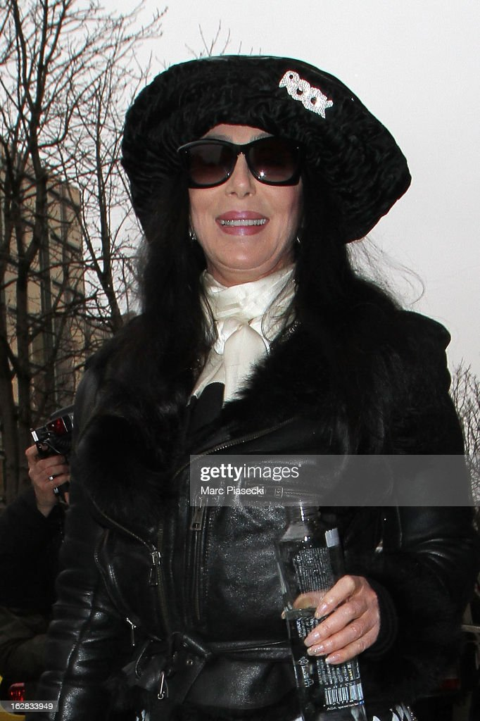 Singer Cher is sighted leaving her hotel on February 28, 2013 in Paris, France.