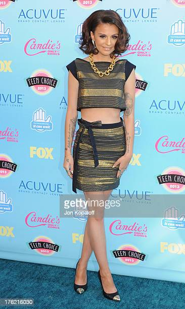 Singer Cher Lloyd arrives at the 2013 Teen Choice Awards at Gibson Amphitheatre on August 11 2013 in Universal City California