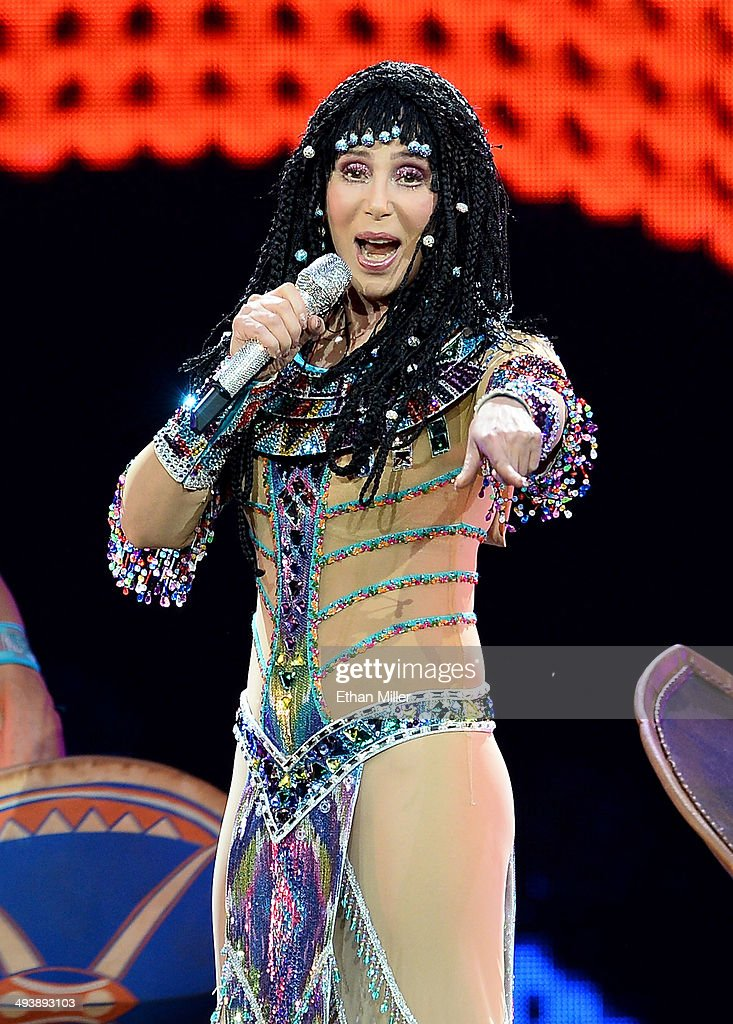 Singer Cher performs at the MGM Grand Garden Arena during her Dressed to Kill tour on May 25, 2014 in Las Vegas, Nevada.