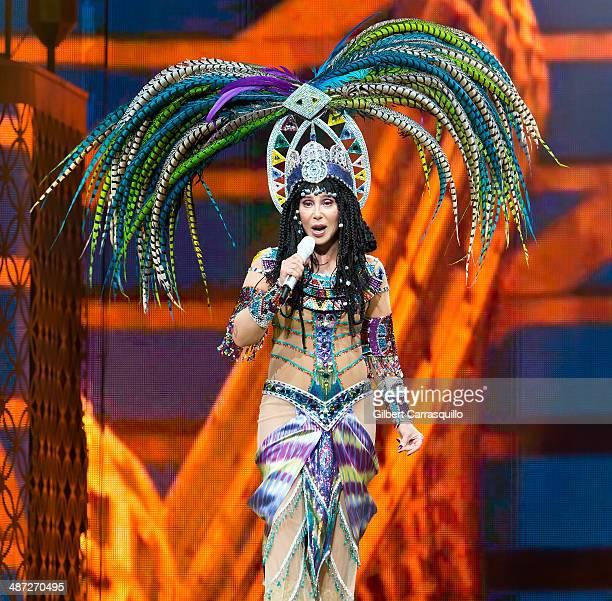 Singer Cher performs during Dressed To Kill tour at Wells Fargo Center on April 28 2014 in Philadelphia Pennsylvania