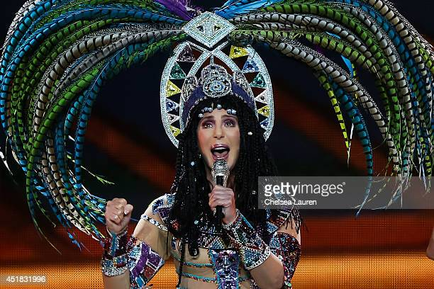 Singer Cher performs during the 'Dressed 2 Kill' tour at Staples Center on July 7 2014 in Los Angeles California