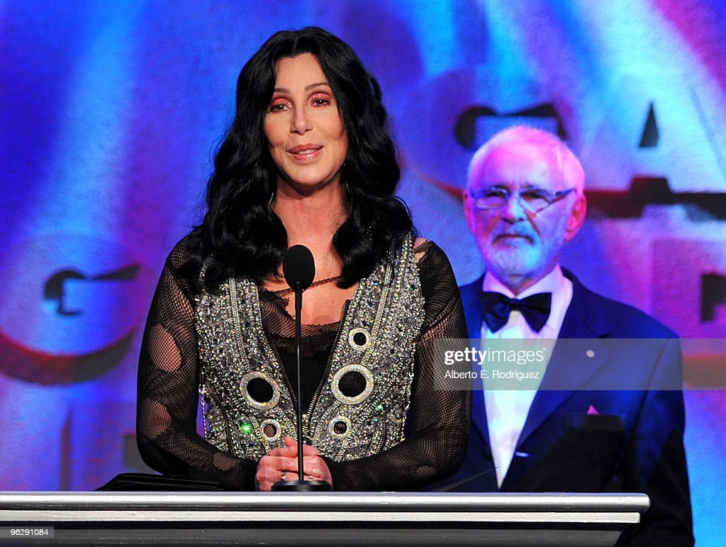 Singer Cher (L) presents the Lifetime Achievement Award for Norman Jewison onstage during the 62nd Annual Directors Guild Of America Awards at the Hyatt Regency Century Plaza on January 30, 2010 in Century City, California.
