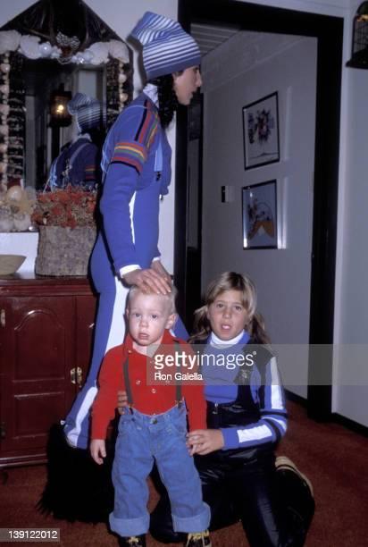 Singer Cher son Elijah Blue Allman and daughter Chastity Bono on December 21 1977 vacation in Aspen Colorado