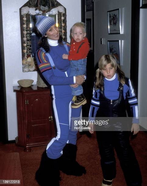 Singer Cher son Elijah Blue Allman and daughter Chastity Bono on December 21 1977 vacation in Aspen Colorado