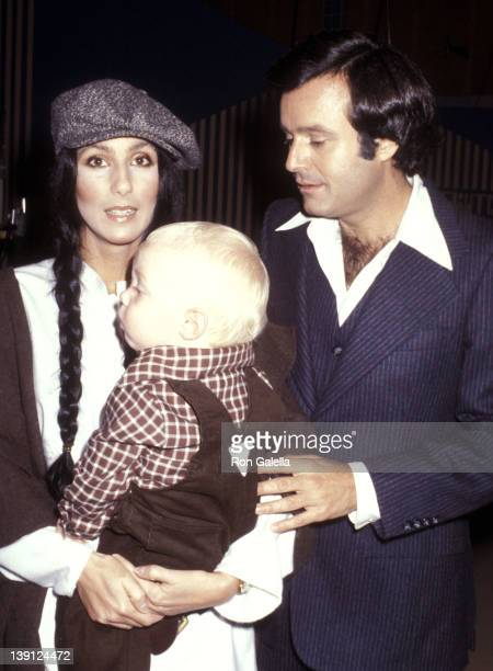 Singer Cher son Elijah Blue Allman and talk show host Stanley Siegel on September 23 1977 pose for pictures during taping of The Stanley Siegel Show...
