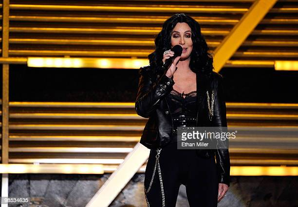 Singer Cher speaks onstage during the 45th Annual Academy of Country Music Awards at the MGM Grand Garden Arena on April 18 2010 in Las Vegas Nevada